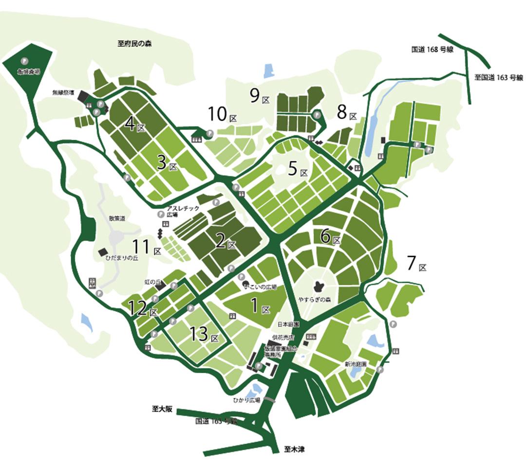 飯盛霊園の霊園地図